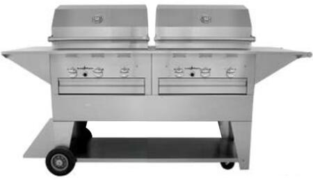 LM210-28/28MP Masterpiece Series Liquid Propane Mobile Freestanding Grill with 72 000 BTU  6 Durite Stainless Steel Burners  and 115 Volt