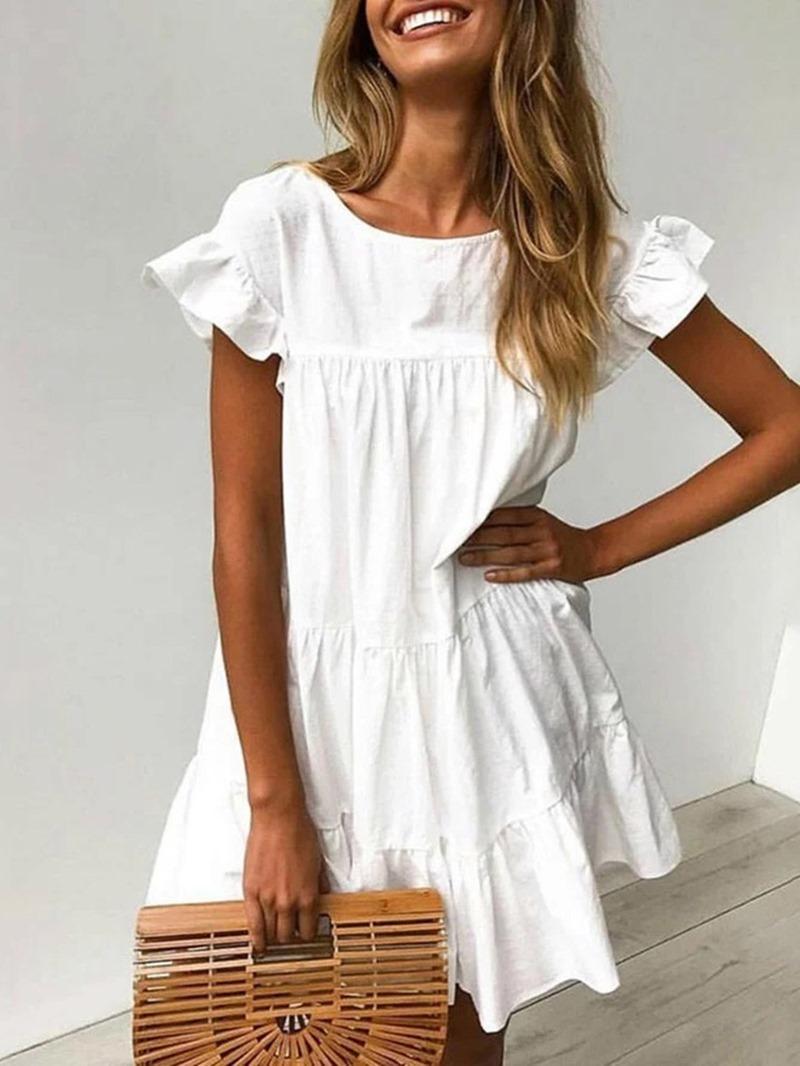 Ericdress Above Knee Round Neck Short Sleeve High Waist Summer Dress