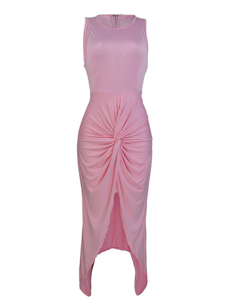 Milanoo Bodycon Dresses Black Jewel Neck Pleated Knotted Casual Sleeveless Pencil Dress