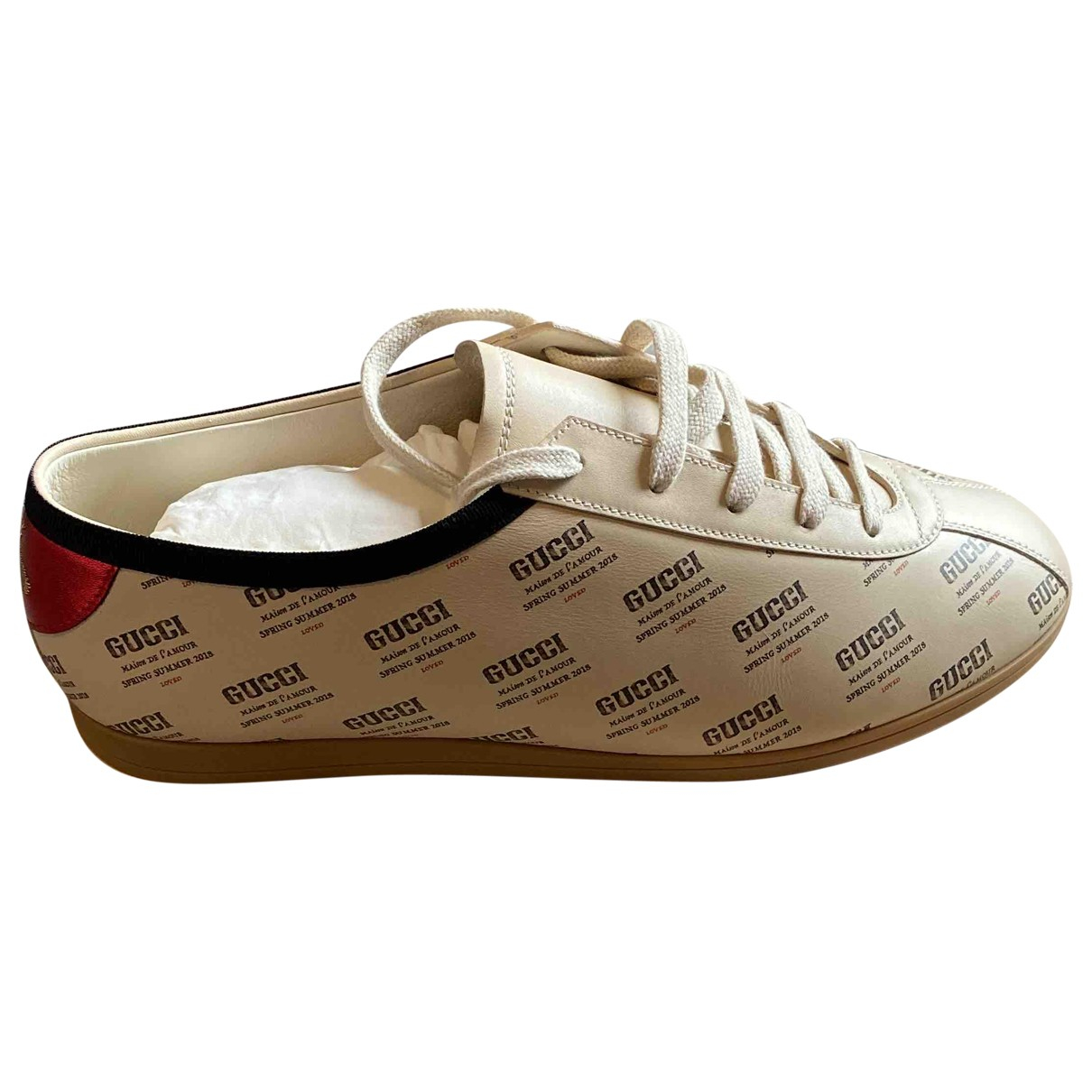 Gucci Falacer Beige Leather Trainers for Men 43 EU