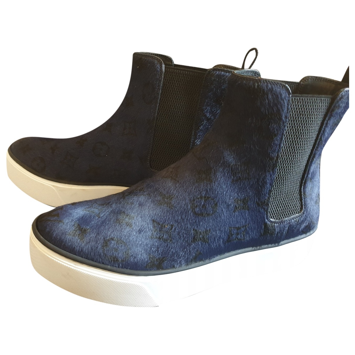 Louis Vuitton \N Blue Pony-style calfskin Ankle boots for Women 39 EU