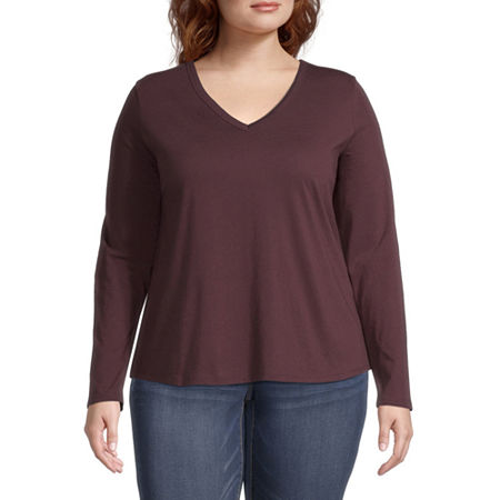 a.n.a Plus-Womens V Neck Long Sleeve T-Shirt, 3x , Red