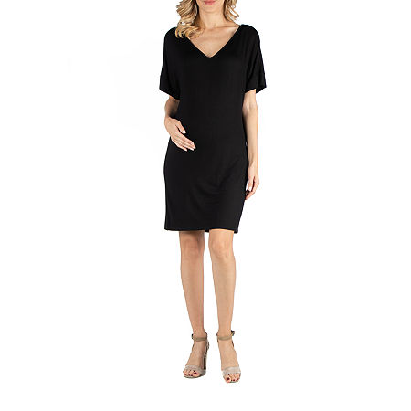 24/7 Comfort Apparel Loose Fit T-Shirt Dress with V-Neck, Small , Black
