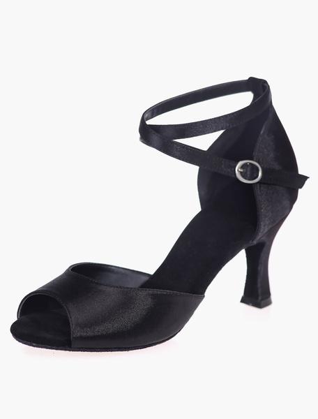 Milanoo Zapatos de salon de saten negro para las mujeres