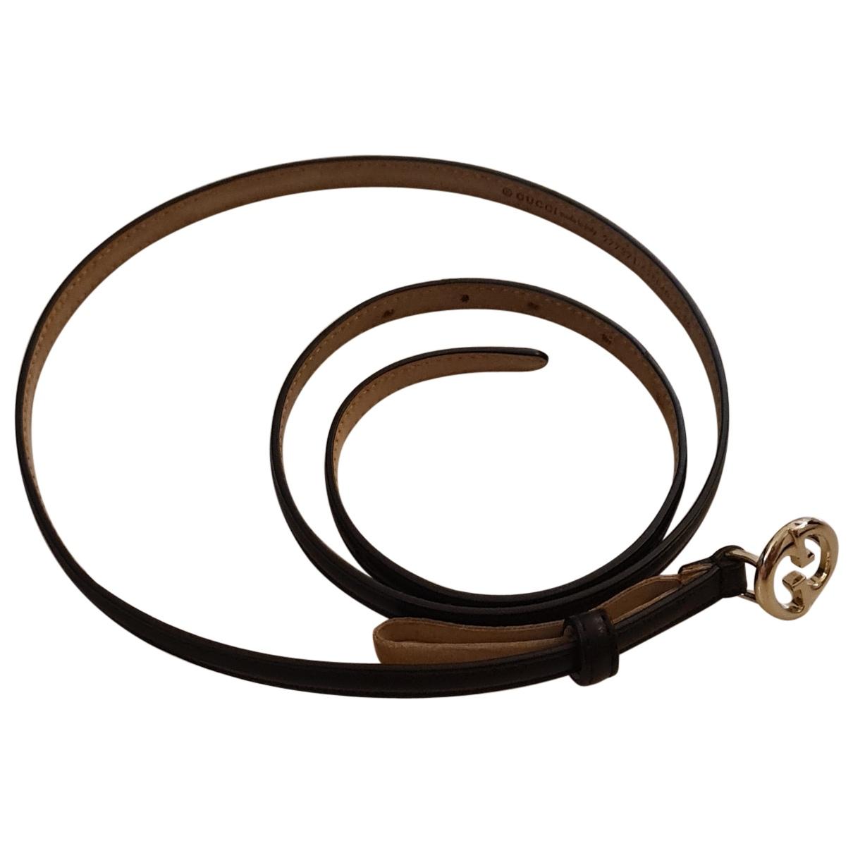 Gucci N Black Leather belt for Women 90 cm