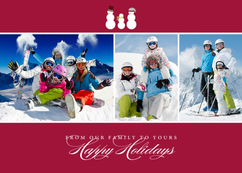 Holiday Photo Cards 5x7 Folded Cards, Premium Cardstock 120lb, Card & Stationery -Snow Family