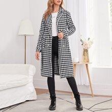 Zweireihiger Mantel mit Hahnentritt Muster