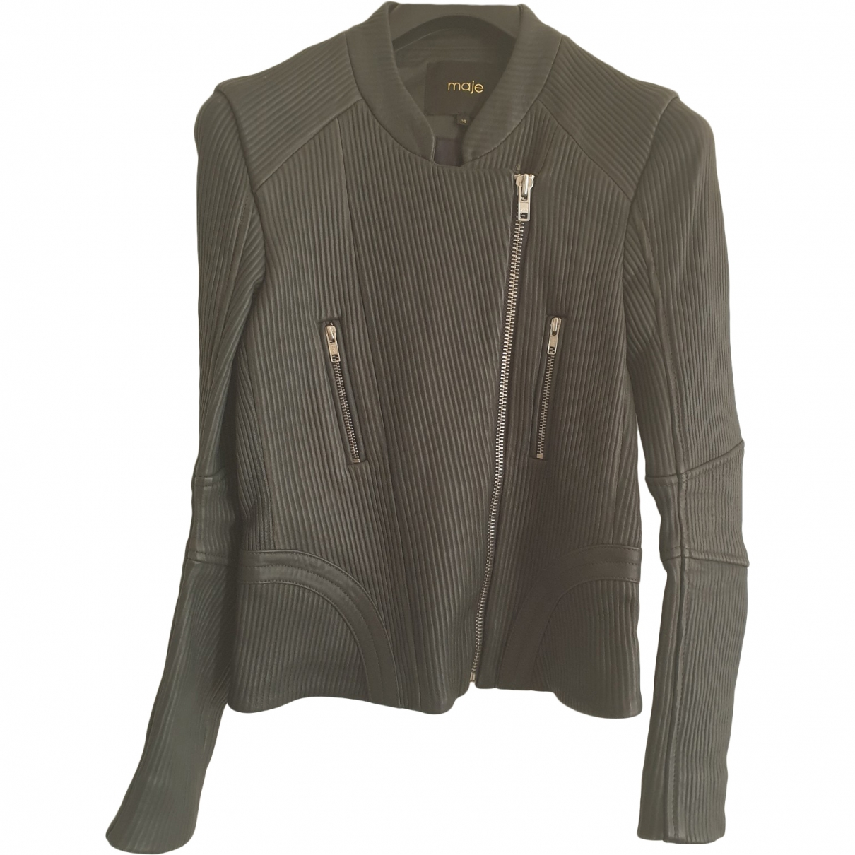 Maje \N Grey Leather Leather jacket for Women 38 FR