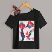 Figure & Floral Graphic Asymmetrical Neck Tee