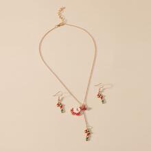 1 pieza collar con diseño de Papa Noel de Navidad con 1 par pendientes largos
