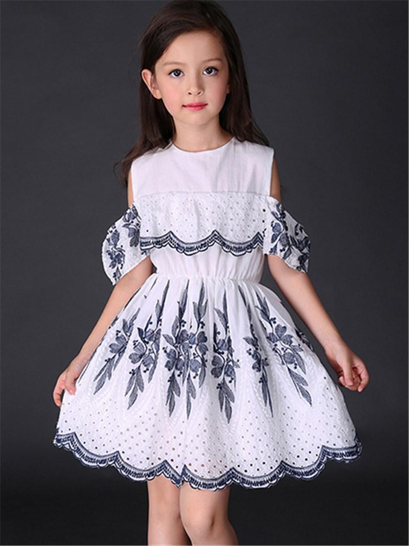 Ericdress Pleated Hollow Girls Dress