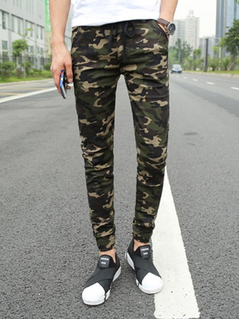Ericdress Pencil Print Camouflage Lace-Up Men's Casual Pants