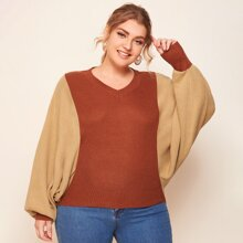 Plus Batwing Sleeve Two Tone Sweater