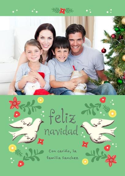 Tarjetas de Navidad 5x7 Folded Cards, Standard Cardstock 85lb, Card & Stationery -Feliz Navidad Doves
