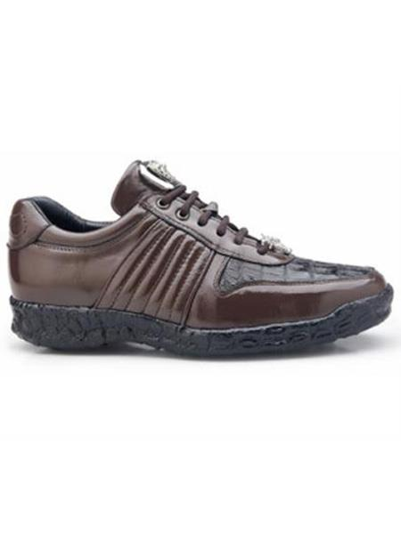 Belvedere Exotic Skin Brand Mens Brown Genuine Crocodile Shoe