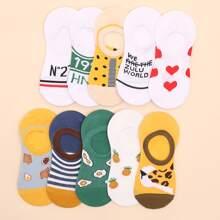 10pairs Heart & Pineapple Pattern Socks