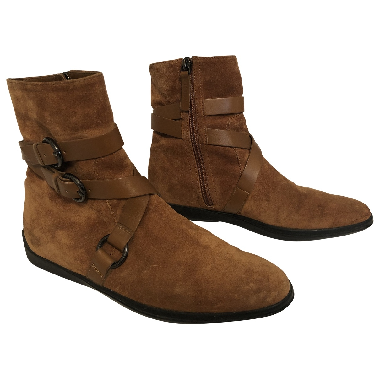 Tod's - Boots   pour femme en suede - camel