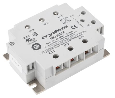 Sensata / Crydom 25 A rms Solid State Relay 3 Phase, Zero Voltage Turn-On, Panel Mount, TRIAC, 600 V ac Maximum Load