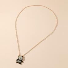 Halskette mit Strass Dekor und Panda Anhaenger