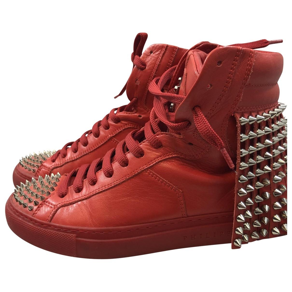 Philipp Plein \N Sneakers in  Rot Leder