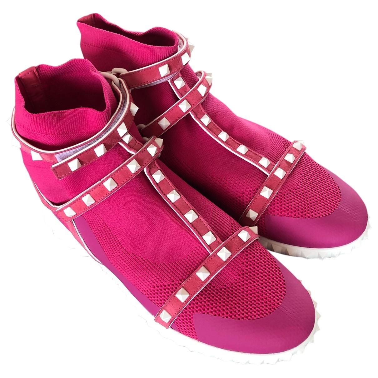 Valentino Garavani - Baskets Sneakers chaussettes VLTN  pour femme en toile - rose