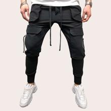 Men Drawstring Waist Zip Pocket Cargo Pants