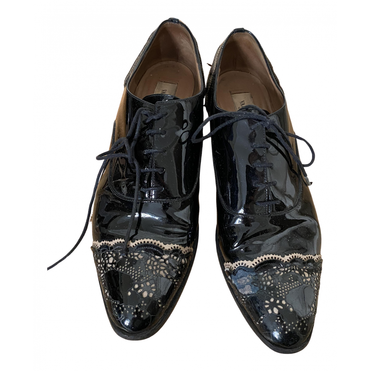 Valentino Garavani N Black Patent leather Lace ups for Women 39.5 EU
