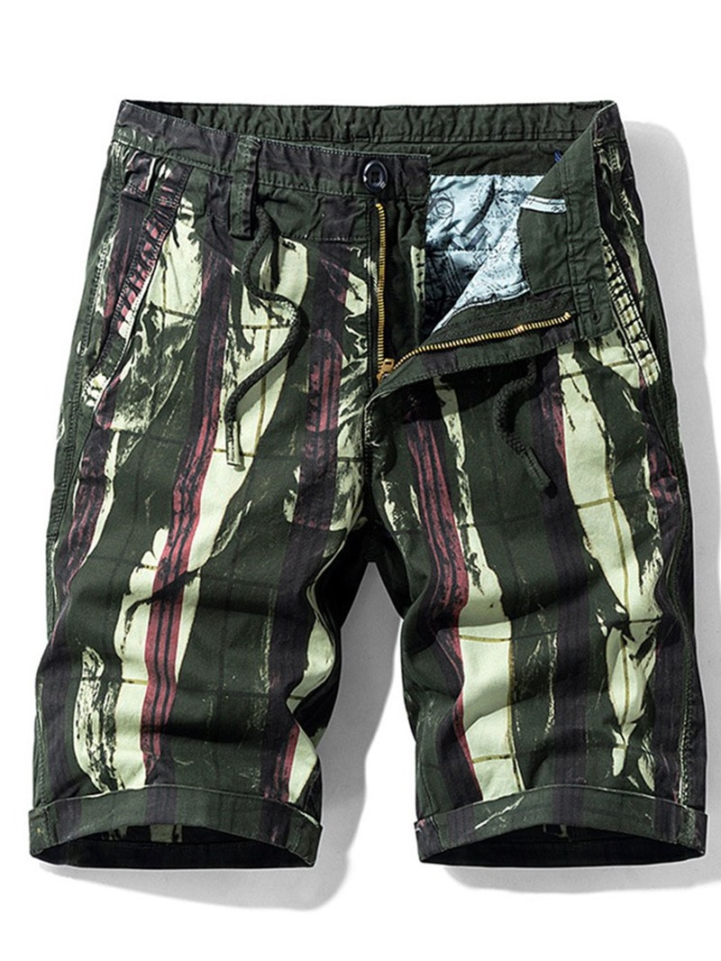 Ericdress Straight Print Zipper Mid Waist Shorts