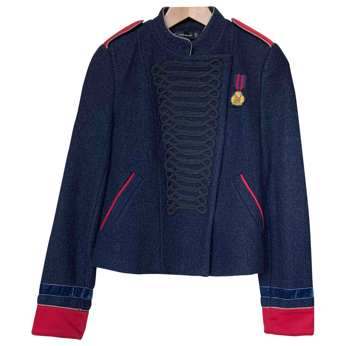 Zara \N Jacke in  Blau Wolle