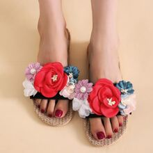 Colorful Flower Appliques Slippers