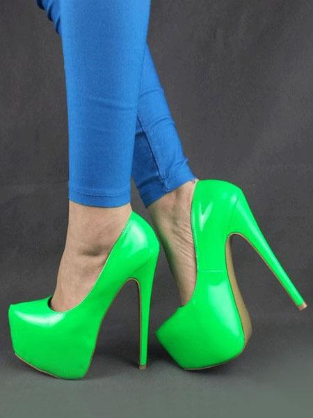 Milanoo Sexy High Heels Platform Almond Patent PU Stiletto Heel Slip On Pumps For Women