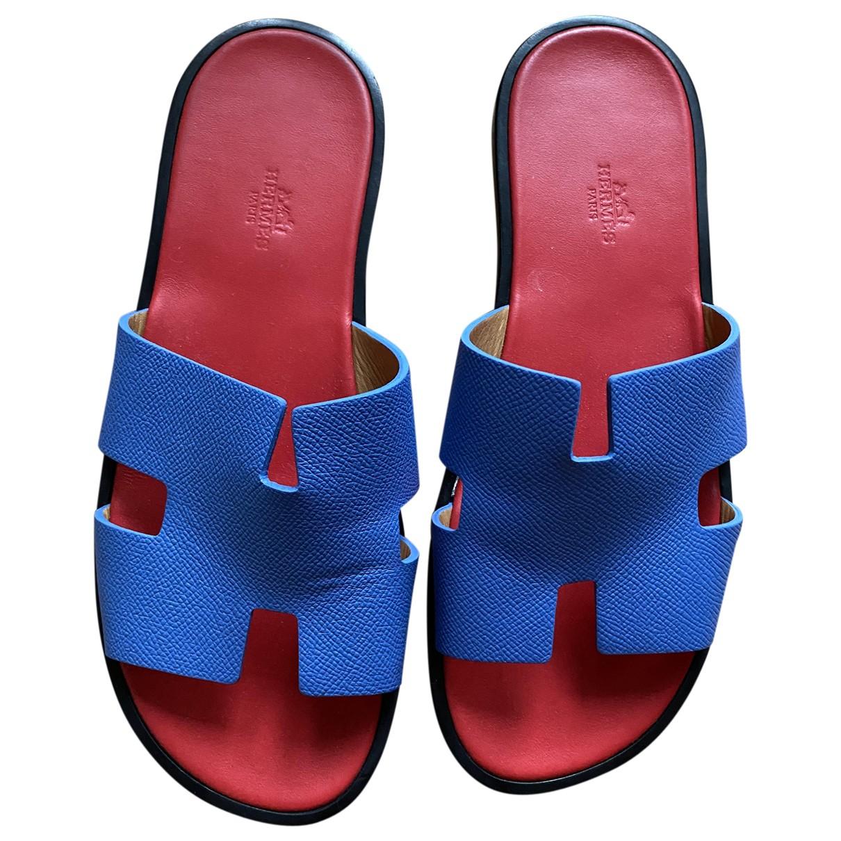 Hermès Izmir Blue Leather Sandals for Men 42 EU