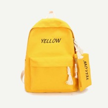 Slogan Embroidered Backpack With Pencil Case