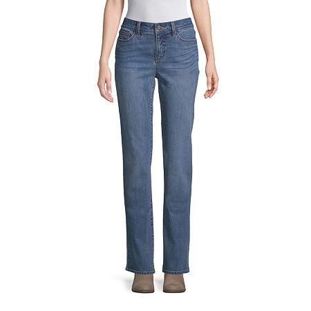 St. John's Bay Womens Mid Rise Straight Leg Jean, 12 Petite , Blue