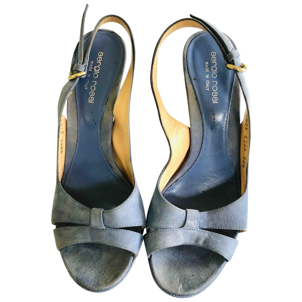 Sergio Rossi - Sandales   pour femme en suede - bleu
