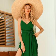 Cami Kleid mit Schlitz und Selbstband
