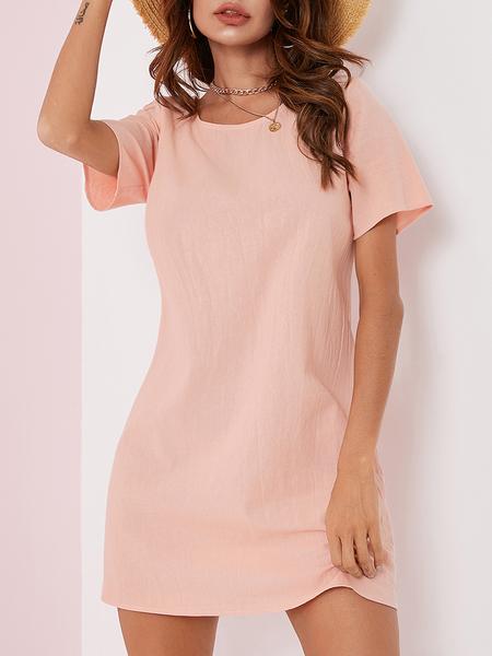 YOINS Button Design Round Neck Short Sleeves Dress