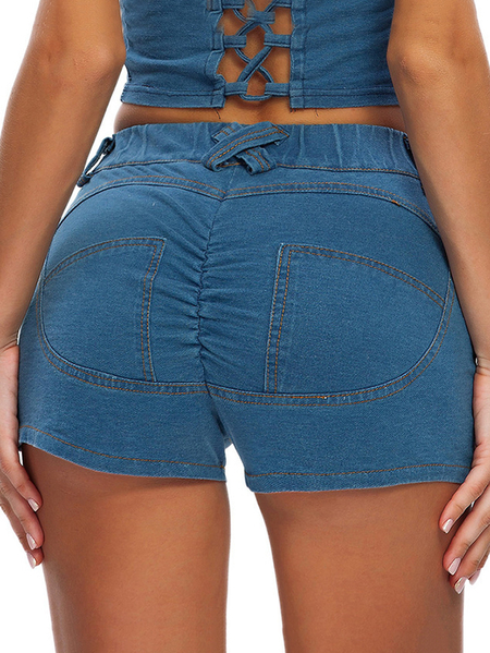 Yoins Blue Side Pockets Ruched Stretch Waistband Shorts