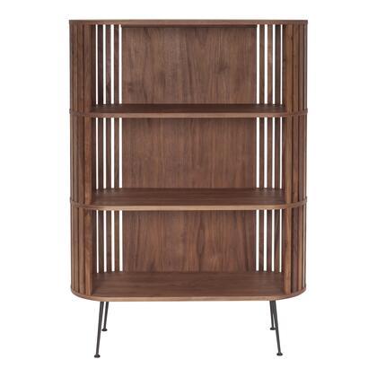 Henrich Collection YC-1024-21 Bookshelf with Walnut Veneer Shelves in Brown
