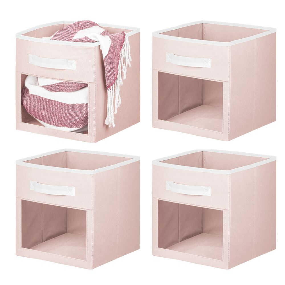 Fabric Storage Organizer Cube With Front View Window in Blush/White, Set of 4, by mDesign