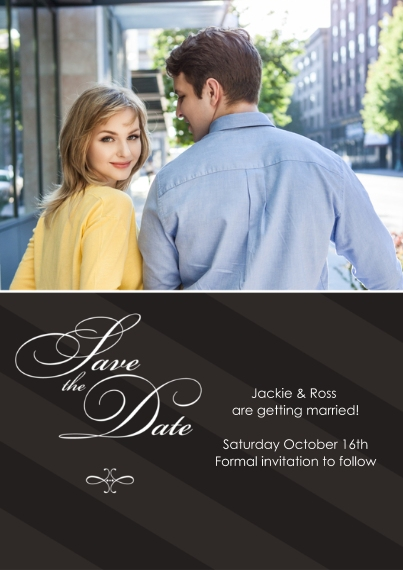 Save the Date Flat Matte Photo Paper Cards with Envelopes, 5x7, Card & Stationery -Flourishes and Stripes