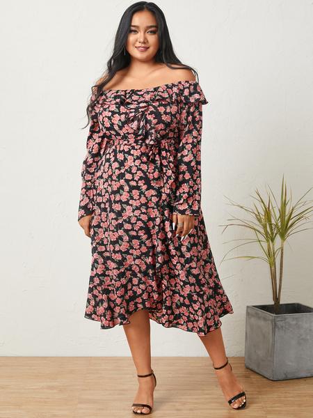 YOINS Plus Size Off The Shoulder Calico Belt Design Long Sleeves Maxi Dress