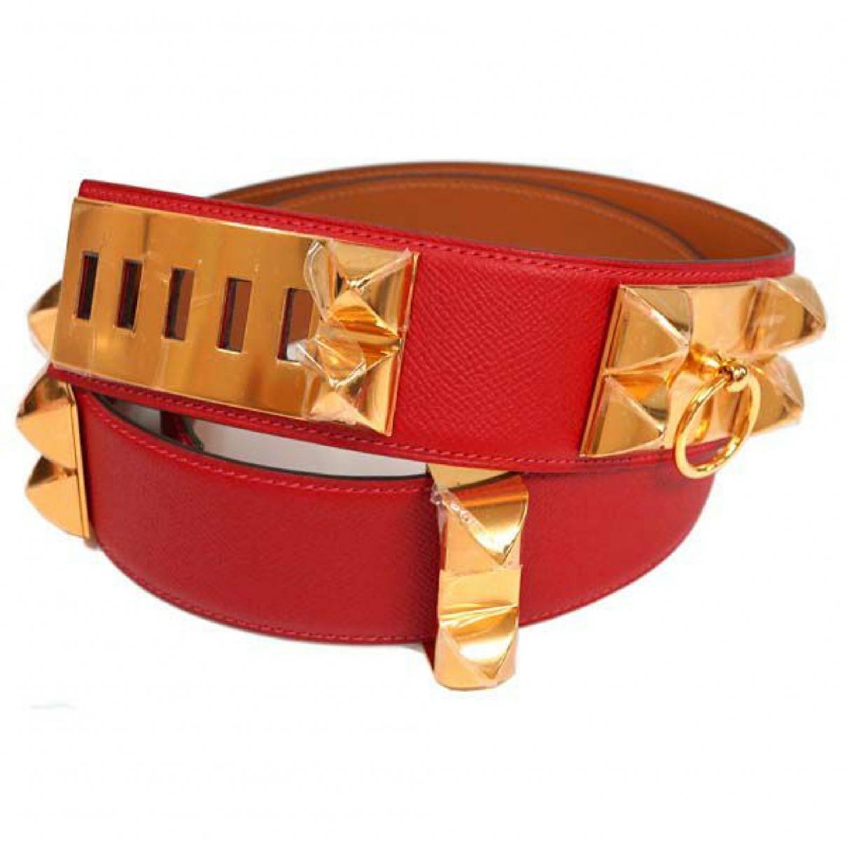 Hermes \N Guertel in  Rot Leder