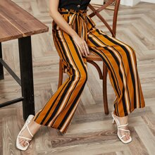 Button Front Cami Top & Paperbag Belted Stripe Pants