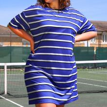 Plus Drop Shoulder Striped Dress