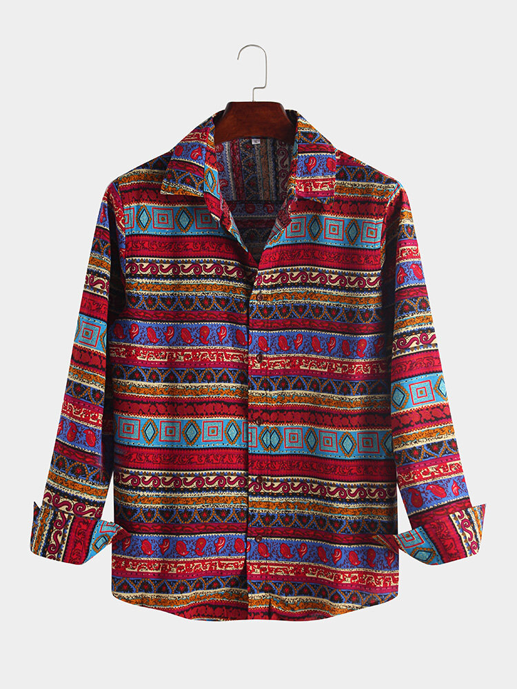 Mens Linen Ethnic Floral Printed Long Sleeve Lapel Shirt