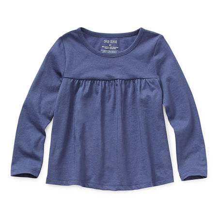 Okie Dokie Toddler Girls Round Neck Long Sleeve T-Shirt, 2t , Blue