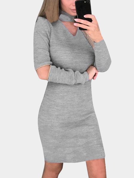 Yoins Grey Hollow Design Cut Out Halter Dress