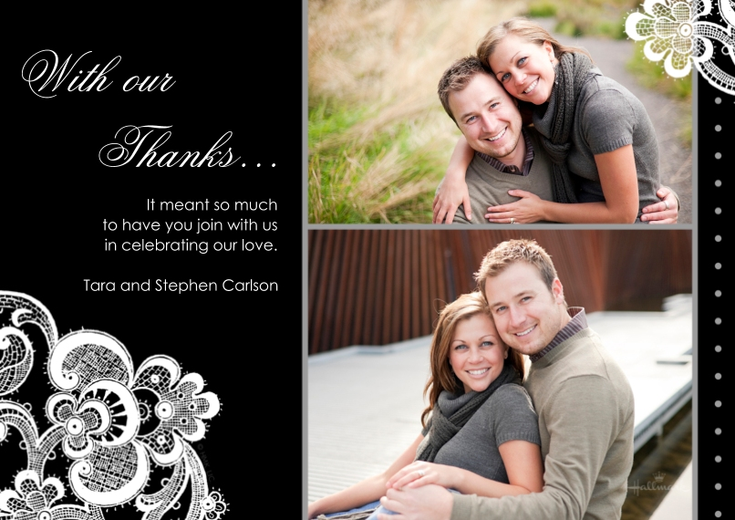Wedding Thank You Flat Glossy Photo Paper Cards with Envelopes, 5x7, Card & Stationery -Black & White Lace Thank You