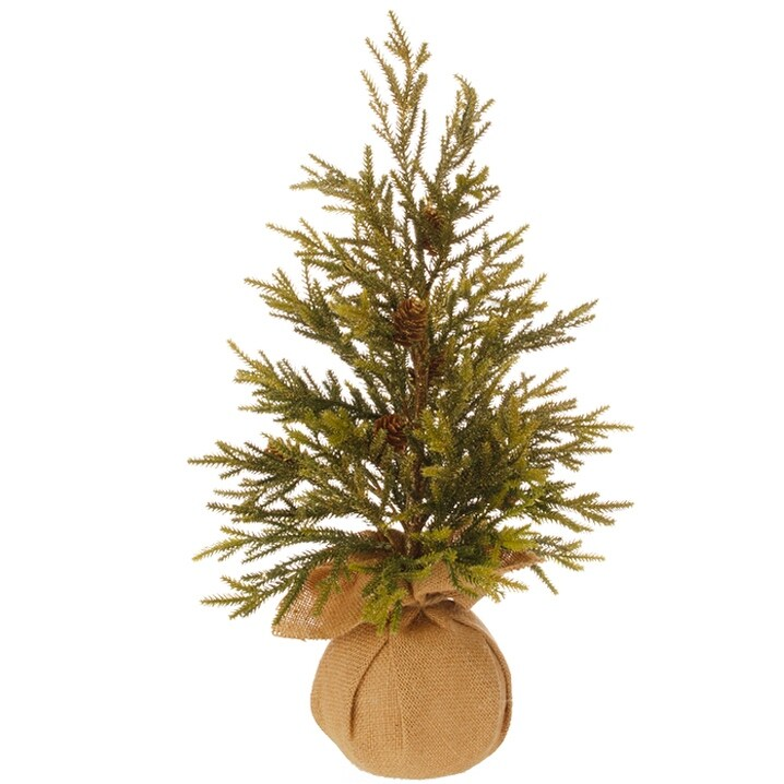 1.5' Potted Glitter Pine Full Artificial Christmas Tree - Unlit - 1.5 Foot (Green - Plastic)
